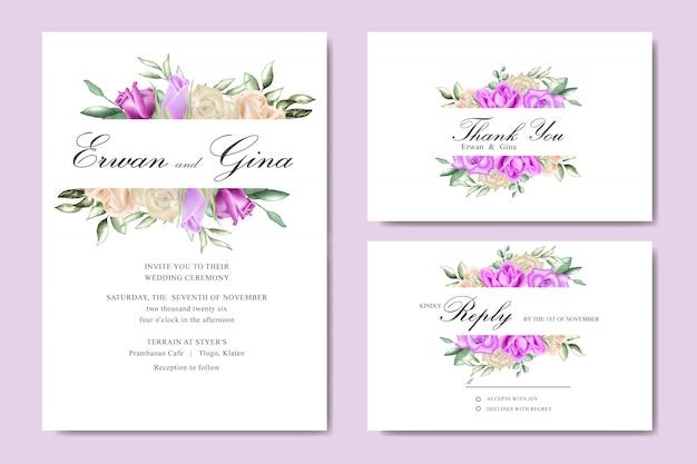 Szablon zaproszenia ślubne karty z akwarela kwiatowy i liści