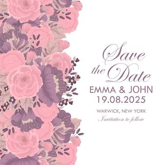 Szablon zaproszenia ślubne karty z kolorowy kwiat.