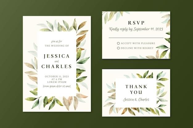 Szablon zaproszenia ślubne kwiatowy akwarela
