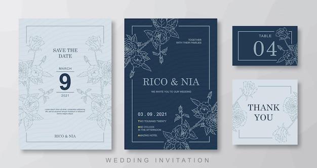 Szablon zaproszenia ślubne kwiatowy linia sztuki