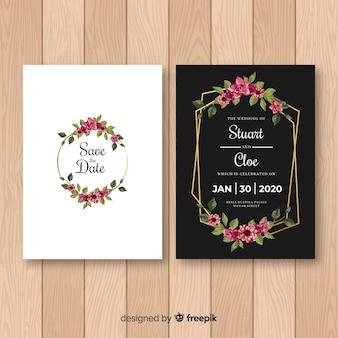Szablon zaproszenia ślubne kwiatowy rama