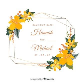 Szablon zaproszenia ślubne kwiatowy ramki