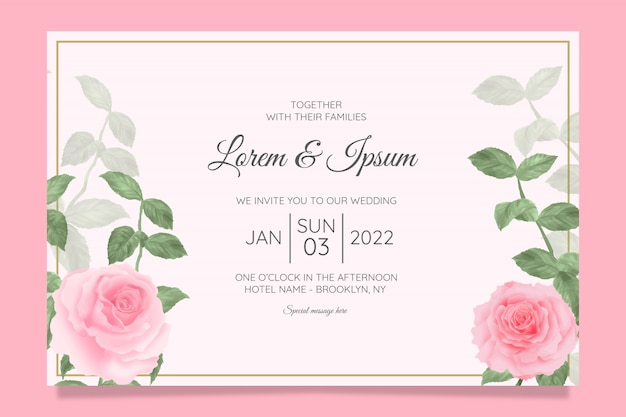 Szablon zaproszenia ślubne kwiatowy szablon z akwarela rama kwiatowy tło