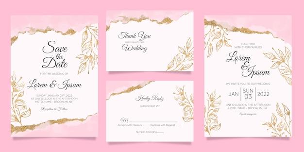 Szablon zaproszenia ślubne kwiatowy z akwarela złotą folią