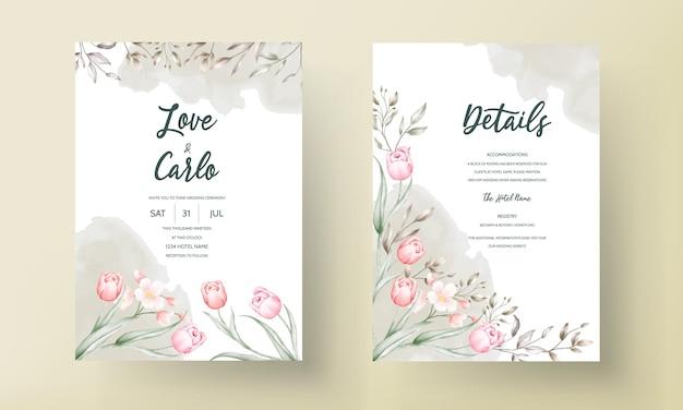 Szablon zaproszenia ślubne kwiatowy z brązowymi i brzoskwiniowymi kwiatami i liśćmi
