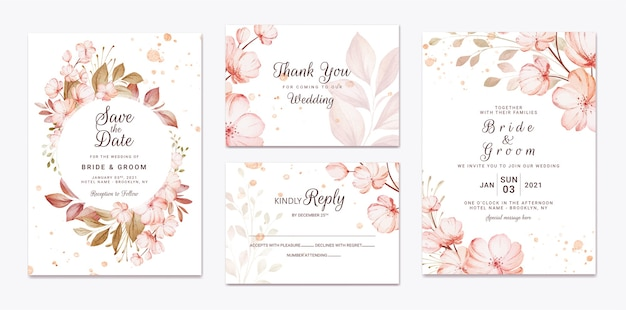 Szablon zaproszenia ślubne kwiatowy z brązowymi kwiatami sakura i dekoracją liści. koncepcja projektu karty botanicznej