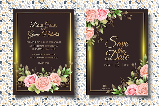 Szablon zaproszenia ślubne kwiatowy z pięknymi kwiatami i liśćmi
