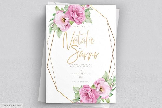 Szablon zaproszenia ślubne kwiatowy z różowymi różami, kwiatami i liśćmi