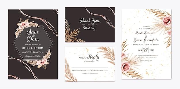 Szablon zaproszenia ślubne kwiatowy zestaw z dekoracją kwiatów i liści brązowych i brzoskwiniowych róż. koncepcja projektu karty botanicznej