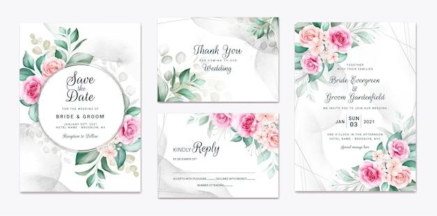 Szablon zaproszenia ślubne kwiatowy zestaw z dekoracją kwiatów i liści brązowych i brzoskwiniowych róż.