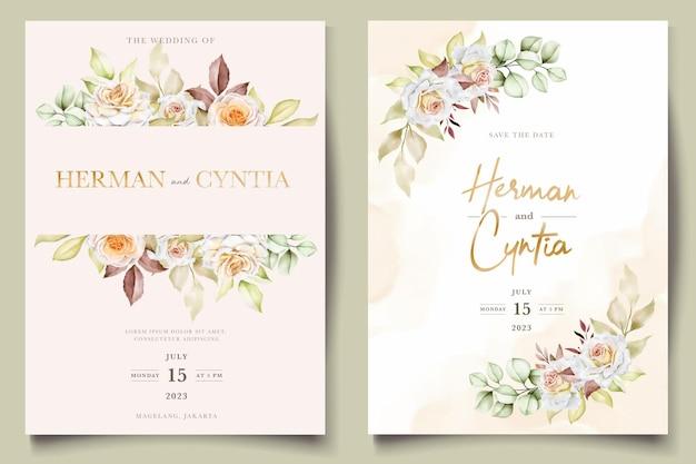 Szablon zaproszenia ślubne kwiatowy zestaw z eleganckimi brązowymi liśćmi