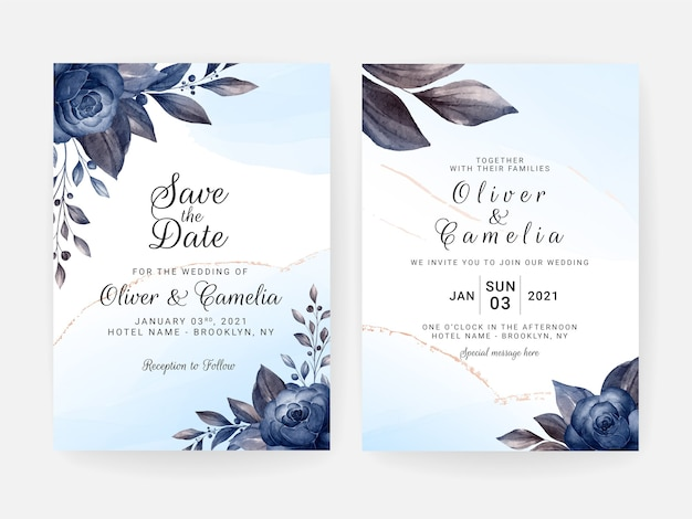 Szablon zaproszenia ślubne kwiatowy zestaw z niebieskimi kwiatami i liśćmi dekoracji. koncepcja projektu karty botanicznej