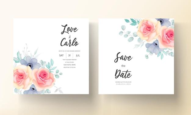 Szablon zaproszenia ślubne kwiatowy zestaw z pięknymi kwiatami i liśćmi dekoracji