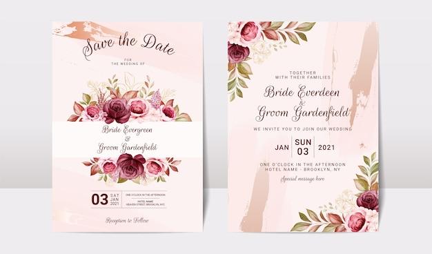 Szablon zaproszenia ślubne kwiatowy zestaw ze złotym bordowym