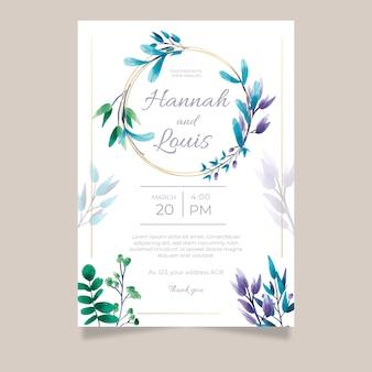 Szablon zaproszenia ślubne kwiatowy