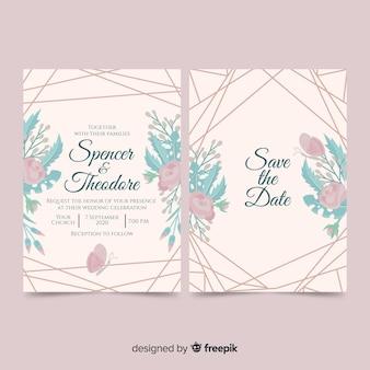 Szablon zaproszenia ślubne kwiaty i linie