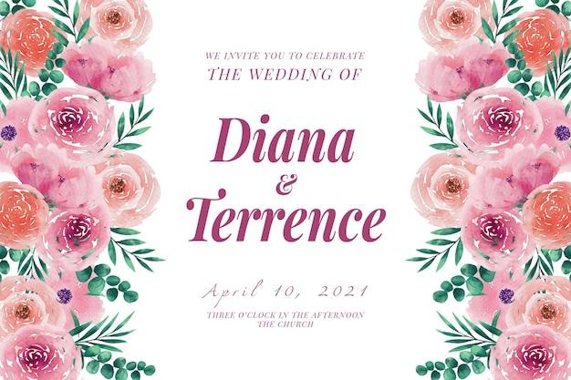 Szablon zaproszenia ślubne kwiaty i liście