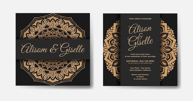 Szablon zaproszenia ślubne luksusowe mandali