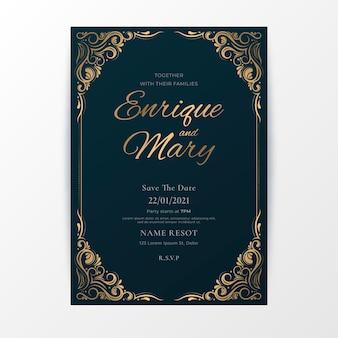 Szablon zaproszenia ślubne luksusowe