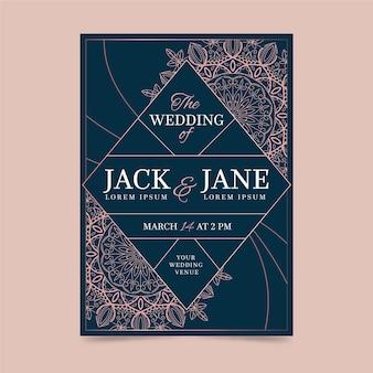 Szablon zaproszenia ślubne luksusowy projekt