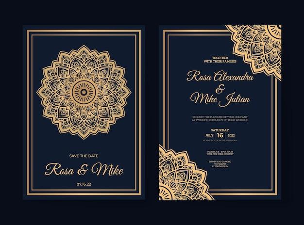 Szablon zaproszenia ślubne mandali premium