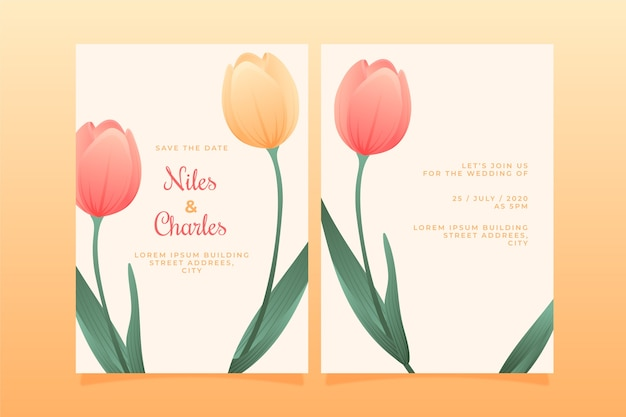 Szablon zaproszenia ślubne motyw kwiatowy