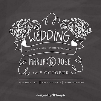 Szablon zaproszenia ślubne na tablicy
