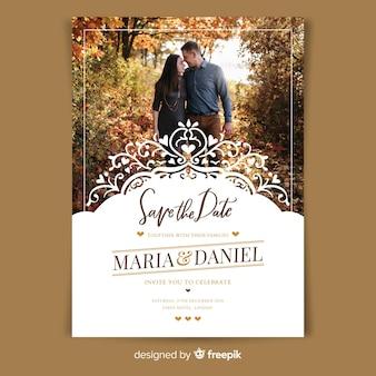 Szablon zaproszenia ślubne ozdobne ze zdjęciem