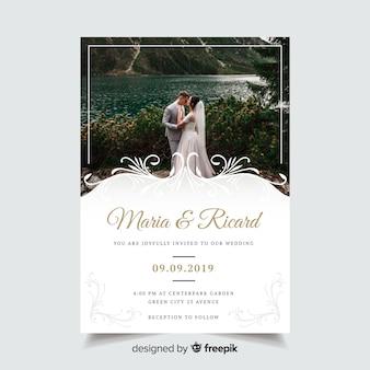 Szablon zaproszenia ślubne ozdobne