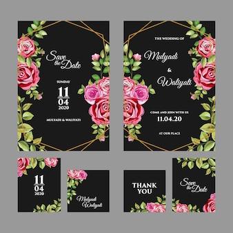 Szablon zaproszenia ślubne ozdobny ornament kwiatowy