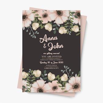Szablon zaproszenia ślubne pastelowe kwiatowy