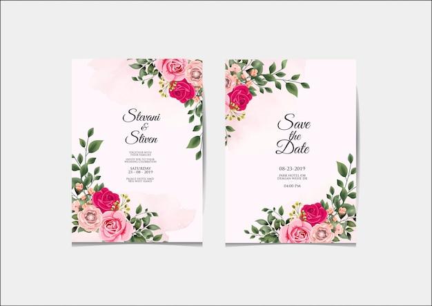 Szablon zaproszenia ślubne piękna i elegancka