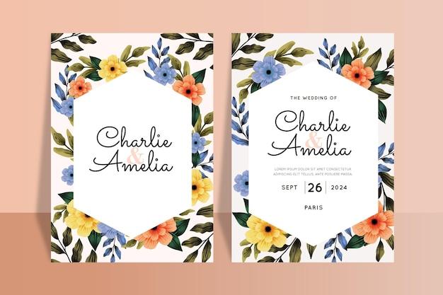 Szablon zaproszenia ślubne piękne kwiaty