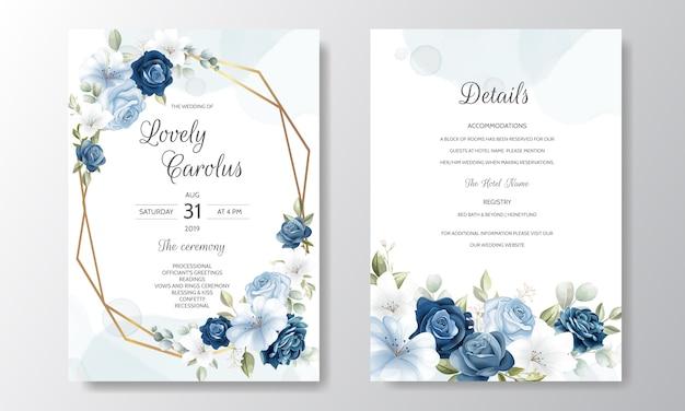 Szablon zaproszenia ślubne piękny wieniec kwiatowy