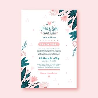 Szablon zaproszenia ślubne płaskie kwiatowy