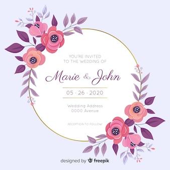 Szablon zaproszenia ślubne rama kwiatowy