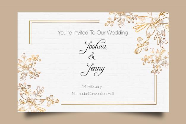 Szablon zaproszenia ślubne ręcznie rysowane złoty premium