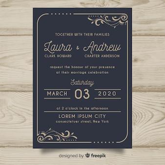 Szablon zaproszenia ślubne retro