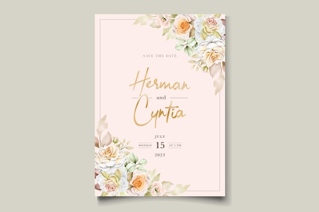 Szablon zaproszenia ślubne romantyczne akwarele