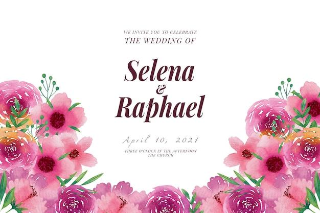 Szablon zaproszenia ślubne różowe wiosenne kwiaty