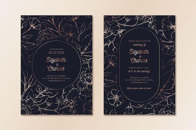 Szablon zaproszenia ślubne w luksusowym stylu