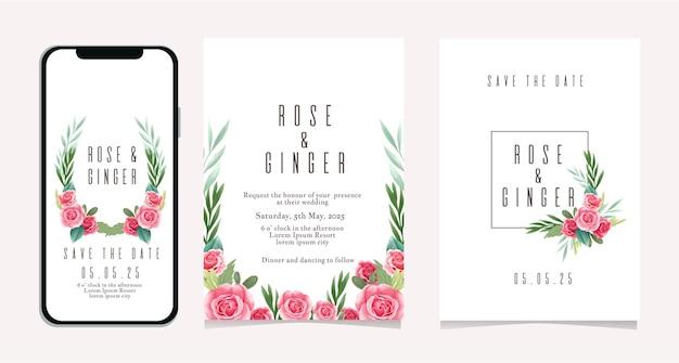 Szablon zaproszenia ślubne w mediach społecznościowych z fioletowym kwiatem