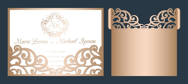 Szablon zaproszenia ślubne wycinane laserowo. ażurowa kieszonka ślubna z abstrakcyjnym ornamentem tnącym.