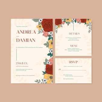 Szablon zaproszenia ślubne z akwarela ilustracja koncepcja linii wiosny