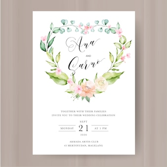 Szablon zaproszenia ślubne z akwarela kwiatowy i liści