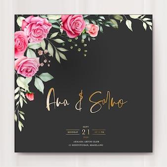 Szablon zaproszenia ślubne z akwarela kwiatowy liści