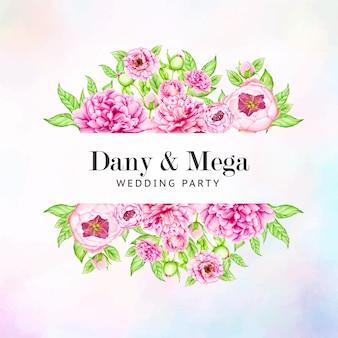 Szablon zaproszenia ślubne z akwarela piwonia kwiaty
