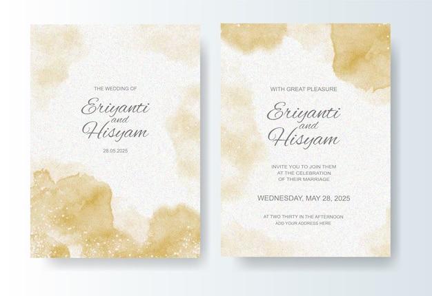 Szablon zaproszenia ślubne z akwarela tło i plusk