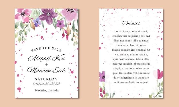 Szablon zaproszenia ślubne z akwarelą w kolorze fioletowym kwiatowym