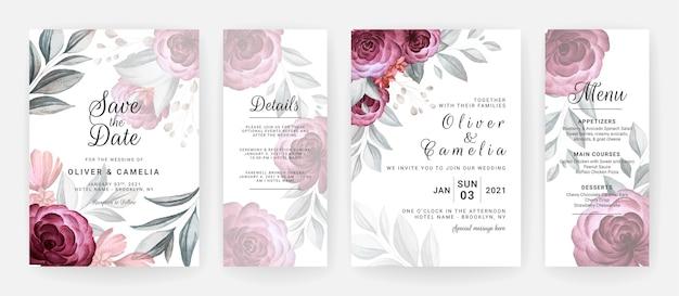 Szablon zaproszenia ślubne z bordowymi różami, kwiatami i liśćmi.
